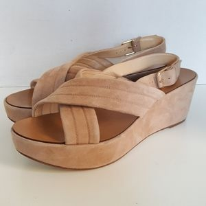 J. Crew Leather Pink Suede Wedge Strappy Sandals